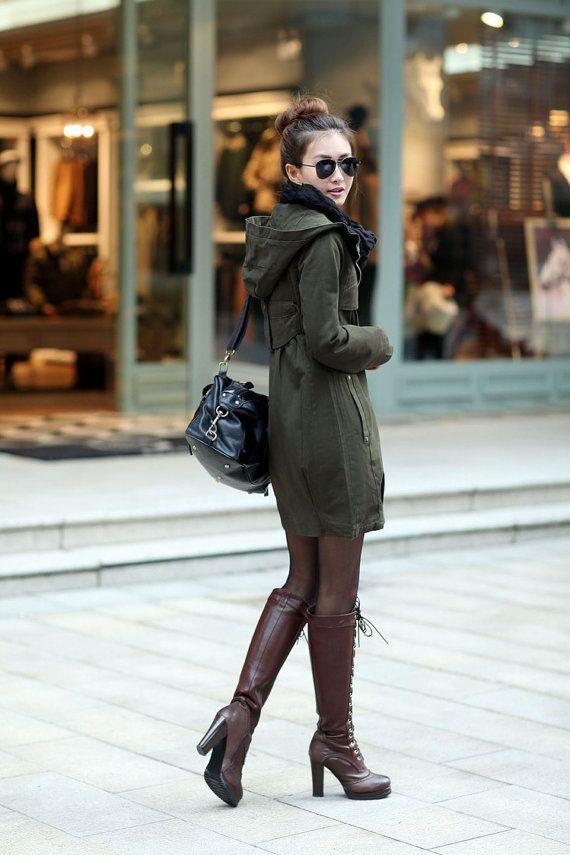 Green jacket hooded long jacket by EllaKoStudio