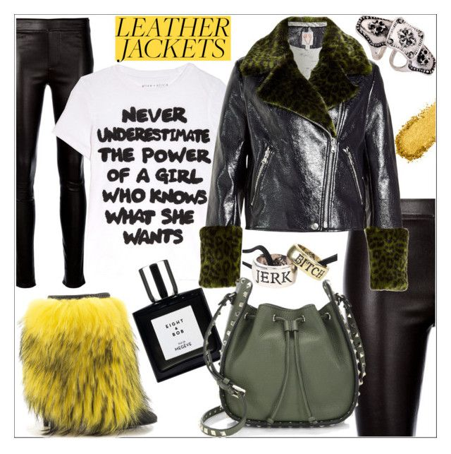 """""""Leather jacket rocks"""" by j477 ❤ liked on Polyvore featuring Helmut Lang, Lust For Life, Hot Topic, Alice + Olivia, WithChic, Shrimps and Valentino"""