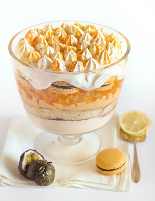 Passionfruit & Lemon Trifle with Macarons