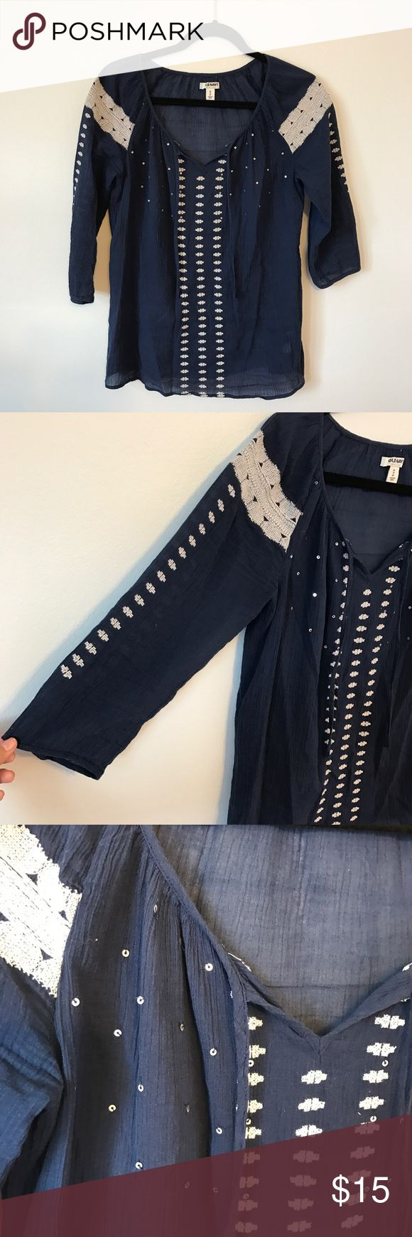 Navy tunic Navy blue tunic with white embroidered details with sequins Old Navy Tops Tunics