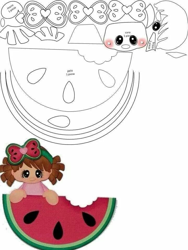Aplique menininha com melancia