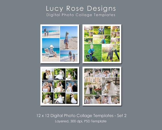 12 x 12 Photo Collage Templates - Set 2  ** PLEASE NOTE THAT THESE TEMPLATES ARE ALSO AVAILABLE INDIVIDUALLY **