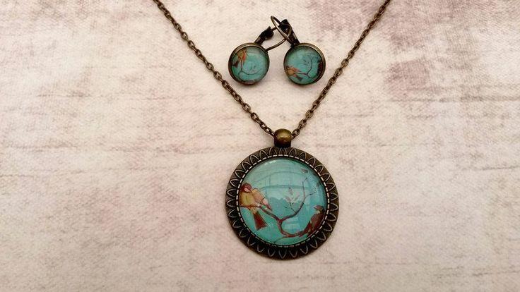 Medaillon kettingen - Handgemaakte ketting vogel turquoise met oorbellen - Een uniek product van Tracy-Jewels op DaWanda