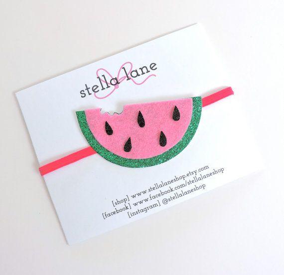 Watermelon Glitter Headband fruit hair clip by StellaLaneShop