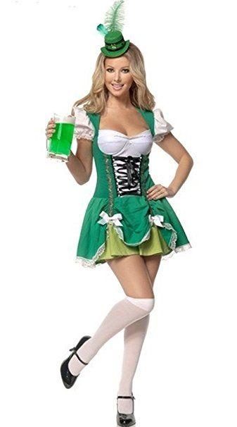 Aimerfeel Damen irisches bier Magd Kostüm Kostüm Mottoparty karneval kostüm gruppe kostüm karneval verkleidung fasching basteln faschingskostüm bekleidung mode