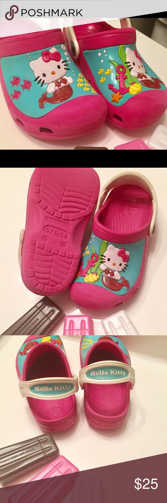 "Crocs Hello Kitty Mermaid Hot Pink Hello Kitty Crocs ""Mermaid"" Size 10-11 Toddler Gently Used CROCS Shoes Water Shoes"