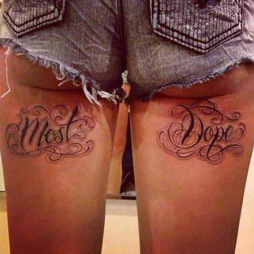 Most Dope on back of legs thighs Funny Tattoos regrettable bad tattoos terrible awful ugliest tattoos wtf tattoos, horrible tattoos awkward ...