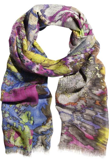 Batik print wool scarf