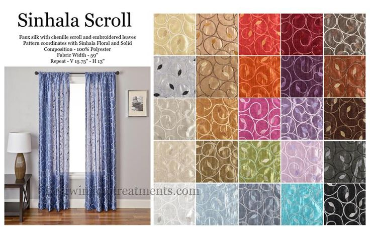 Sinhala Scroll Curtain Panel Available In 29 Colors
