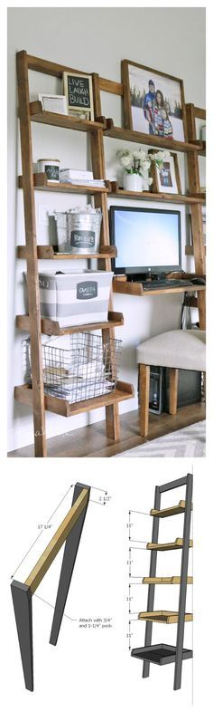 diy shelf- leaning ladder wall bookshelf made from 1x boards desk plans too