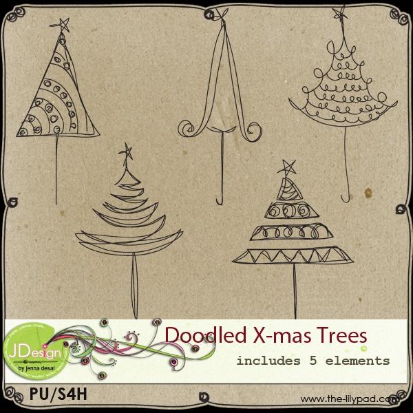 Doodled X-mas Trees by Jenna Desai