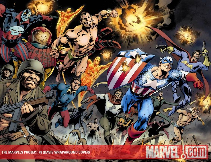 This is the Alan Davis variant to issue #8 of The Marvels Project. Davis likes his classic superheroes.