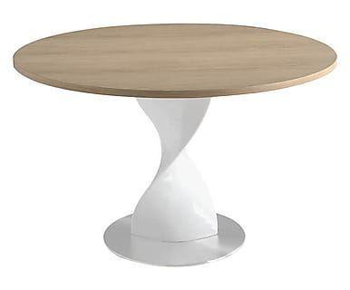 Tavolo in fibra di vetro e acciaio con top rotondo in quercia Treviso, 130x76 cm