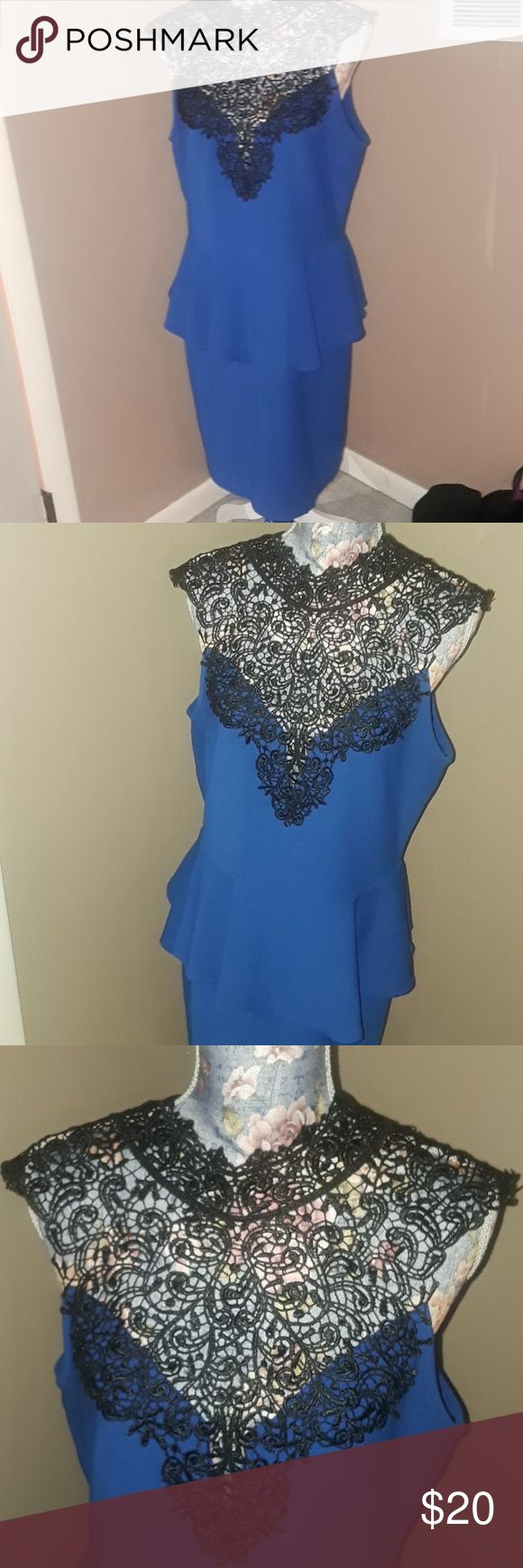 Deb Peplum Dress with Crochet Lack Neckline 1X Deb Shops Royal Blue with black lace Brand new with tags Deb Dresses