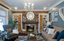 Engaging Living Room Design Advertise Light Sky Blue Wall Color Scheme With White Wooden Bookshelves And Interesting Firewood As Well As Decorating Ideas For Living Rooms Also Interior Design