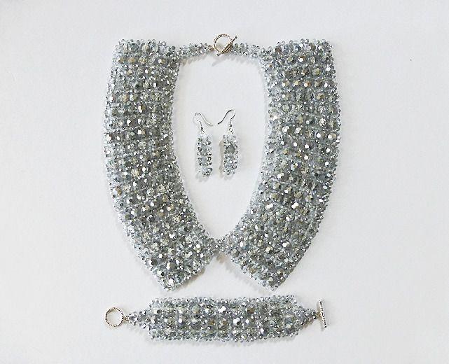 Parure 3 pièces parure cristal et perles de verres parure noël parure réveillon