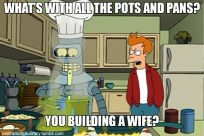 Philip J. Fry: Asking Silly Questions Since 1974 :)  Just a funny little Futurama meme to brighten your day, featuring aliens, an aspiring robot 'chef' (Bender Bending Rodriguez aka the 30% Iron Chef) who can't taste anything and cooks with LSD, his lovable human sidekick and some of the most inedible food this side of the 31st Century...  It's scifi on acid :)