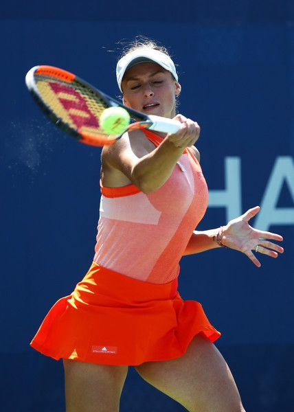 Ana Bogdan of Romania returns a shot to Taylor Townsend of the United States on Day Three of the 2017 US Open at the USTA Billie Jean King National Tennis Center on August 30, 2017 in the Flushing neighborhood of the Queens borough of New York City.