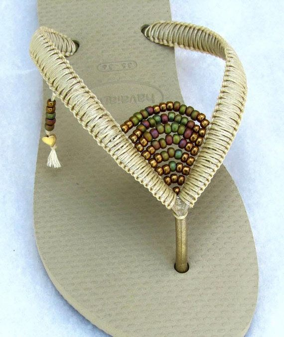 Gold Havaianas Flip Flops, Boho Decorated Sandals, Bohemian Shoes, Beaded Flip Flops, Hippie Gipsy Chic Beach Sandals  Colorful Bohemian Beaded Flip Flop - 100% Handmade. This listing is for gold Havianas (cream) flip flops with bronze & colorful beads.  You can decorate your hands, ears, neck but also … your feet!  These are an absolutely unique Must Have Flip Flops!!! The combination between style and comfortable at the same pair of sandals.  By decorating I used professional jewelry te...