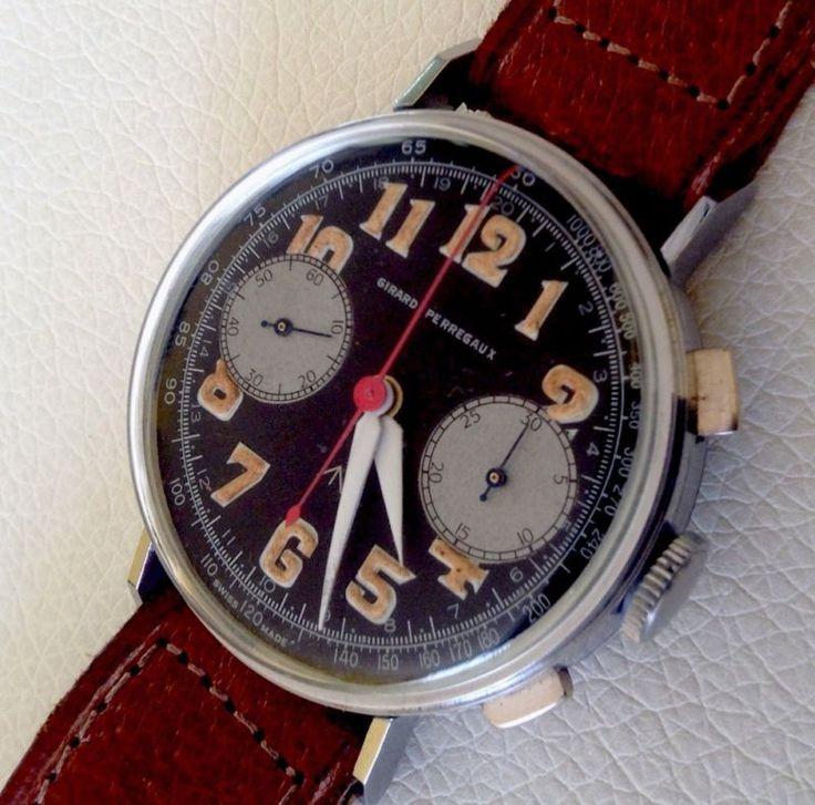 Vintage Girard Perregaux Chronograph Military Pilot Style ...