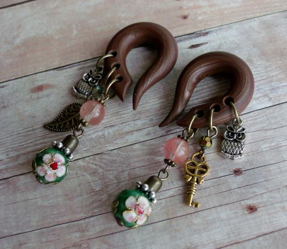 Secret Garden Charm Gauged Earrings by TheCreatorsCreations