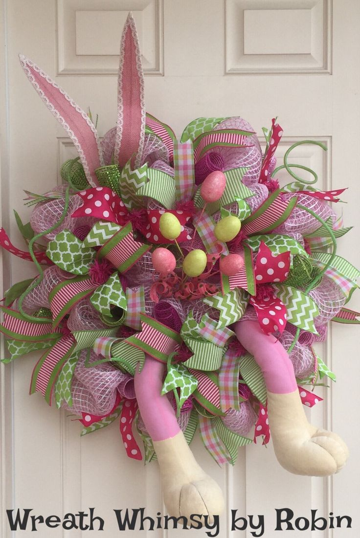 Xl Pink Lime Deco Mesh Easter Wreath With Bunny Legs And