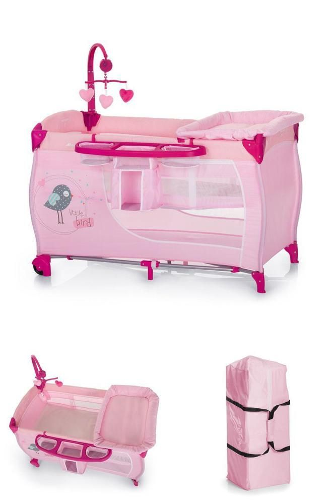 Pink Baby Travel Cot Playpen Newborn Bed Mobile Diapers Storage Changing Mat