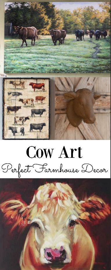 Farmhouse style!! Every house needs a little cow art! I LOVE the one on the bottom!