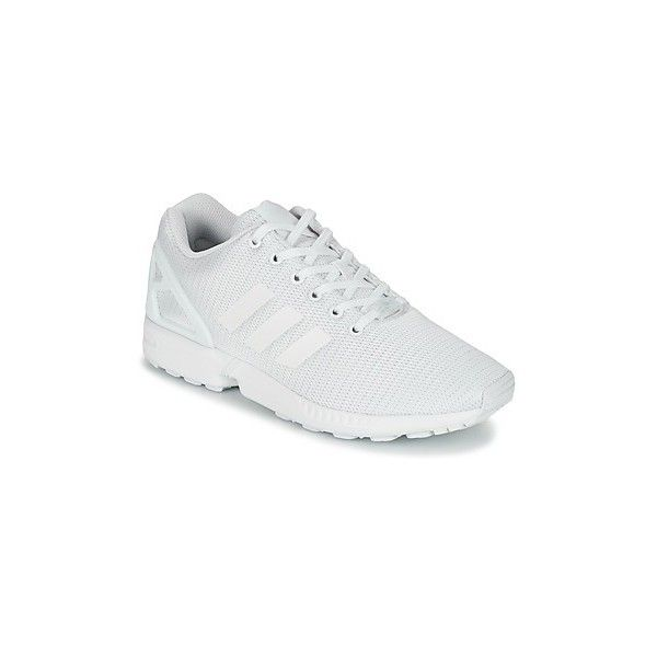 adidas ZX FLUX Shoes ($105) ❤ liked on Polyvore featuring shoes, sneakers, white, white sneakers, low top, rubber shoes, white rubber shoes and adidas