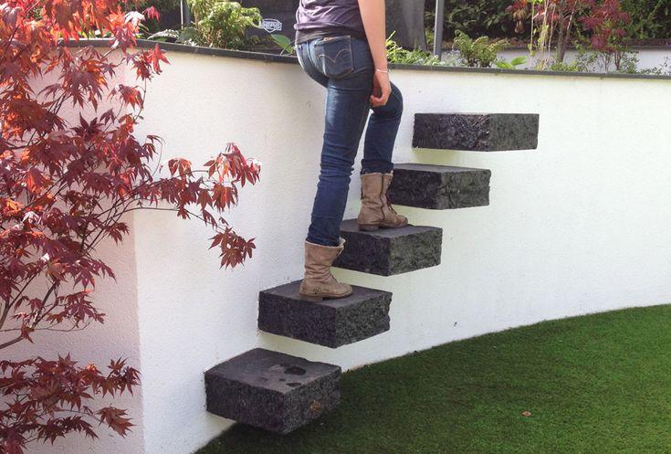 chunky cantilevered granite steps
