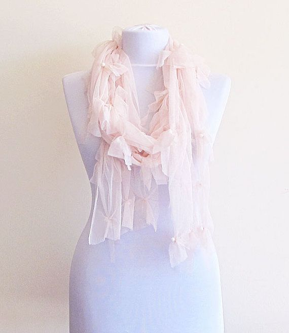 Soft Pink Scarf Peach Bohemian Pink Scarves fashion by aynurdereli, $32.00  #accessory #women #womensfashion