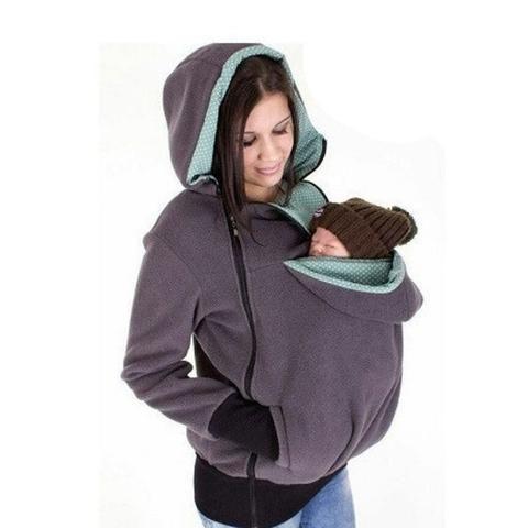 Fashion Zipper Solid Baby Carrier Jacket Winter Cotton Pregnant Kangaroo Coat Babywearing Maternity Women Hoodies Sweatshirts