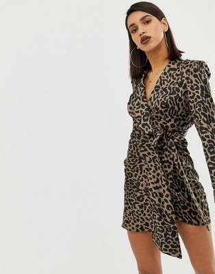 c53557c35d2 Image 1 of ASOS DESIGN leopard print tux mini dress in crepe and satin