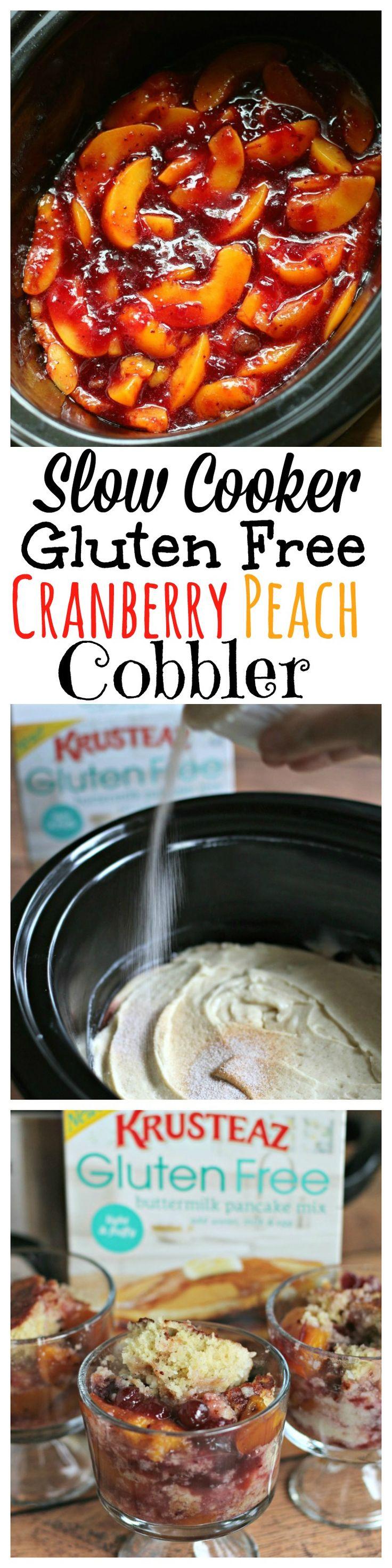 Slow Cooker Gluten Free Cranberry Peach Cobbler #sponsored