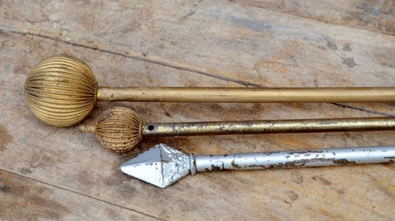 Victorian Curtain Rods Antique Gold Silver by RibbonsAndRetro, $45.00