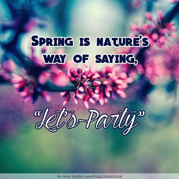 Spring Is Natureu0027s Way Of Saying, Letu0027s Party. #nature #party #quotes Awesome Ideas