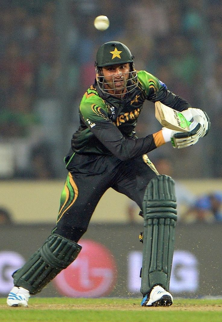 Pakistan batsman Shoaib Malik plays a shot during the ICC World Twenty20 tournament cricket match between India and Pakistan at The Sher-e-Bangla National Cricket Stadium in Dhaka.