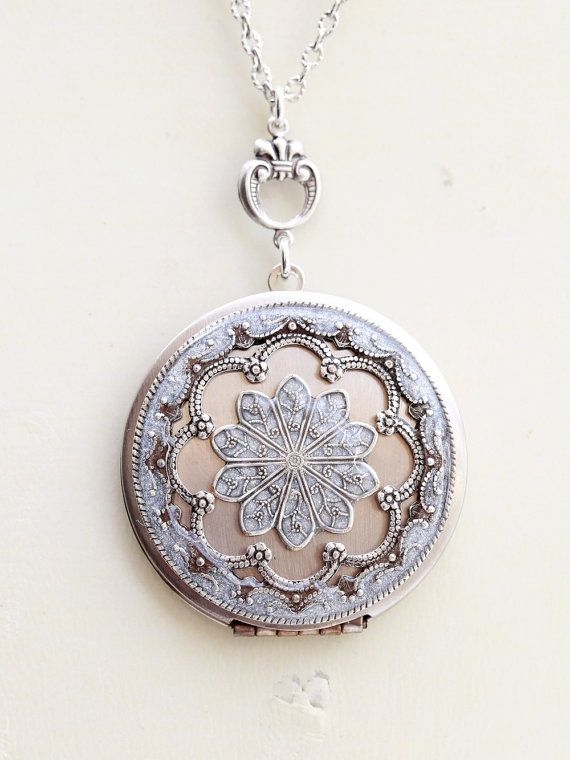 Locket, Silver Locket,Jewelry Gift,Pearl White Locket,Let it go,Gift,Snow,Pendant,filigree locket necklace, filigree locket,Wedding Necklace