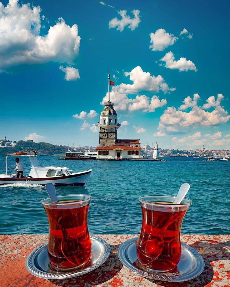 Turkish tea and the girl's tower in #Istanbul …