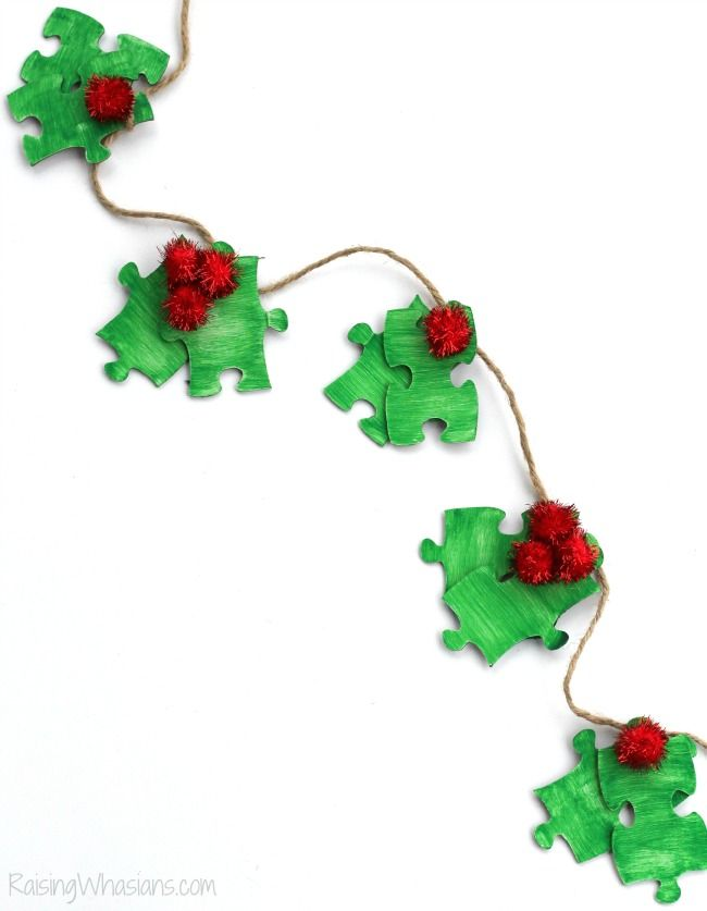 Puzzle Piece Holly Garland Christmas Kids Craft Holiday