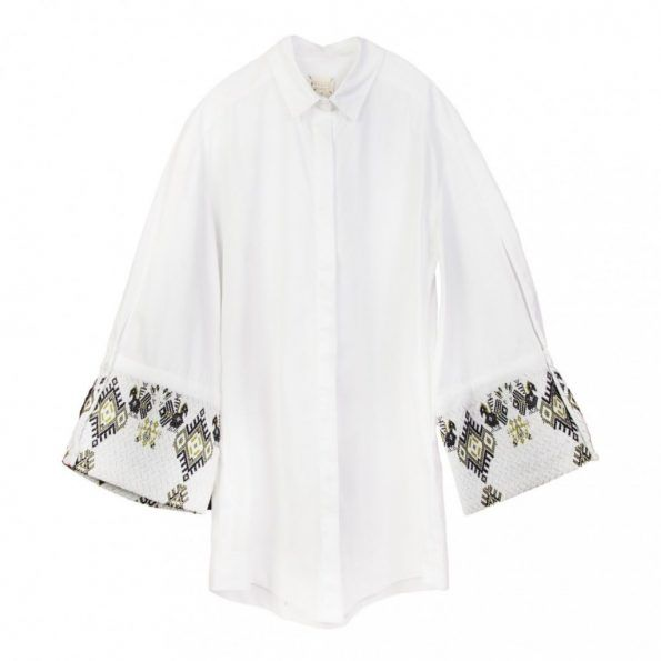 Embroidered Cotton Shirt. Handcrafted in Greece Attached Fabric 1: 100% cotton Attached Fabric 2: 100% cotton Free Size: Made for women that shape the clothes