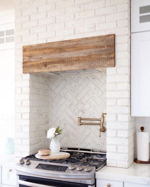 NC_HomeDesign on Instagram | Brick Kitchen Stove Oven -- herringbone brick