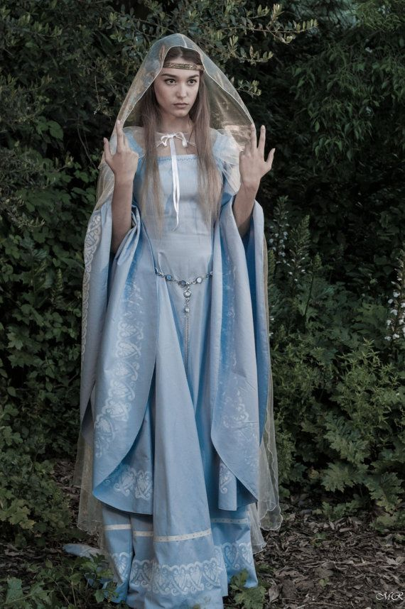Elven fantasy medieval wedding dress hand painted by TheIronRing