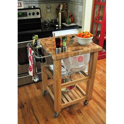 Chris U0026 Chris Pro Chef Kitchen Work Station With Wood Legs And Wood Top |  Wayfair