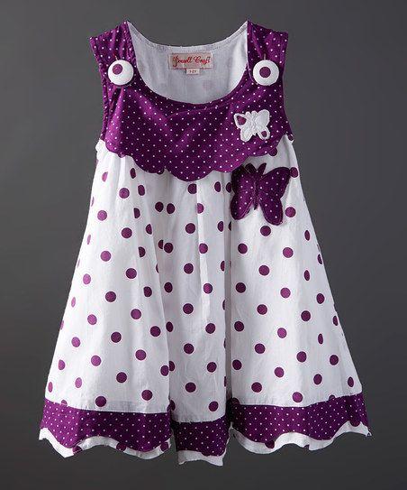 Powell Craft Purple Polka Dot Butterfly Dress - Infant, Toddler & Girls | zulily