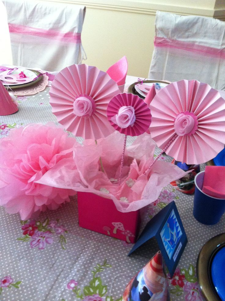 Princess Birthday Party Pinwheel table decorations made by me. | Bella's 6th Birthday Party