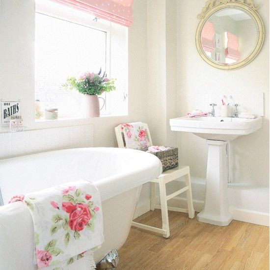 Pink and white bathroom - another one Sophia would like! But I'm interested in the white and cream working together.