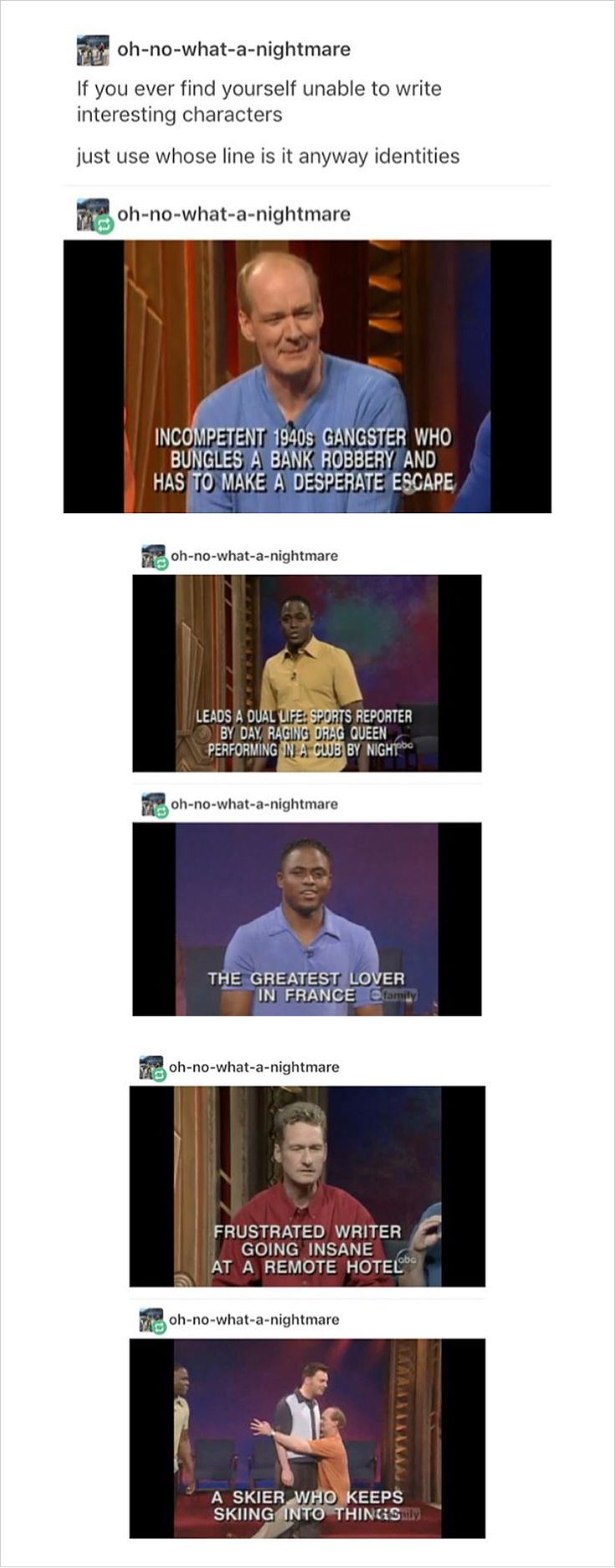 Whose Line identities as anti-writing block. I love this.