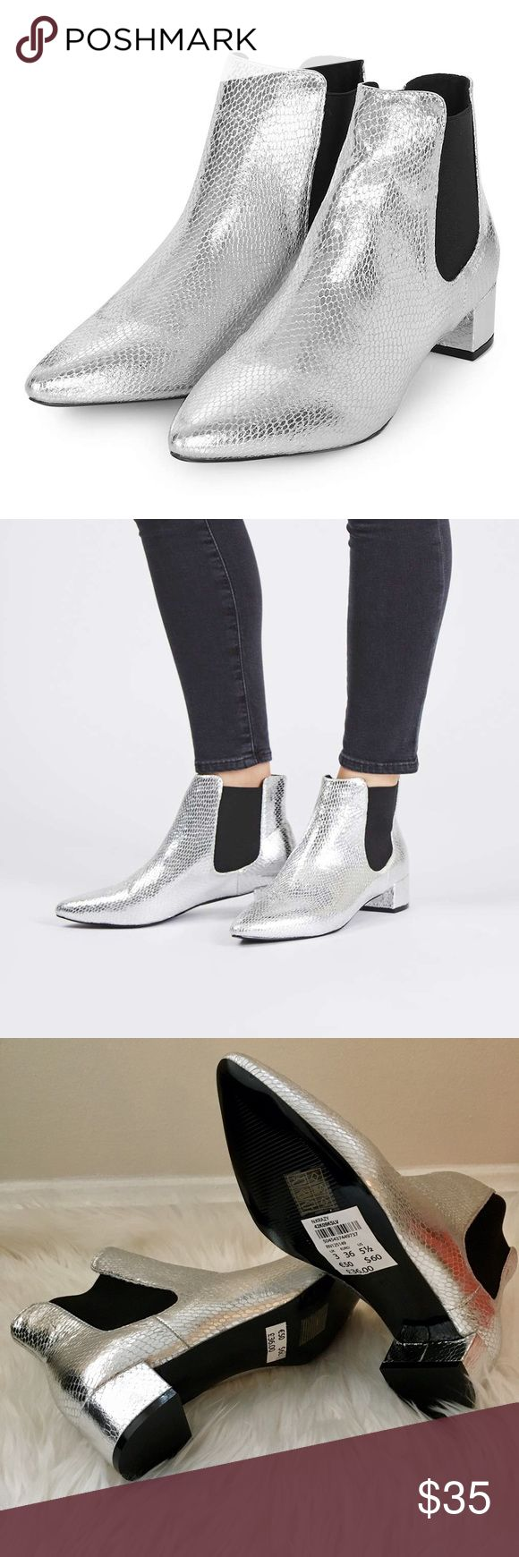 🆕 Topshop Silver Ankle Boots Fierce ankle booties in sleek silver with Chelsea details. Brand new without box, never been worn. Topshop Shoes Ankle Boots & Booties