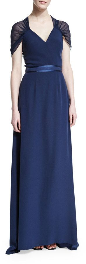 Kay Unger New York Short-Sleeve Butterfly-Back Gown, Navy
